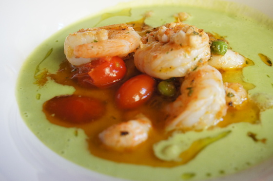 Pea soup with shrimp.JPG